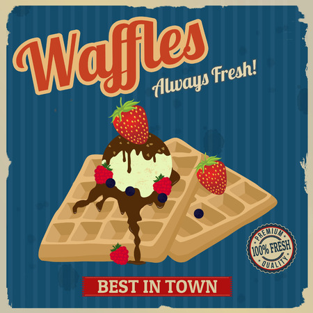 Vintage waffles with chocolate, ice cream and berries poster design, vector illustration