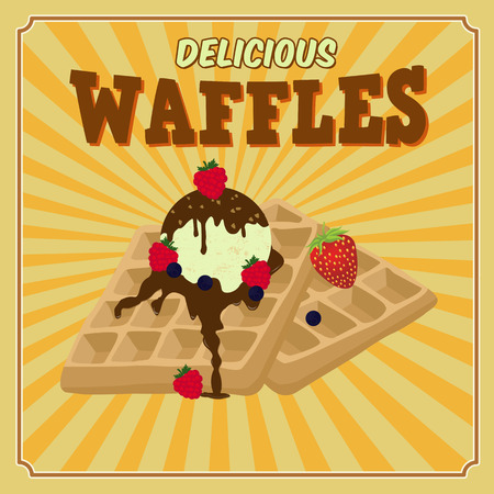 belgian waffle: Vintage waffles with chocolate, ice cream and berries poster design, vector illustration