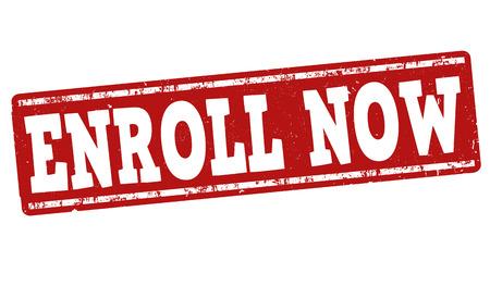 grunge rubber stamp: Enroll now grunge rubber stamp on white background, vector illustration