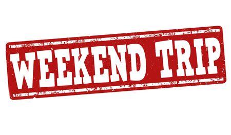 Weekend trip grunge rubber stempel op een witte achtergrond, vector illustratie
