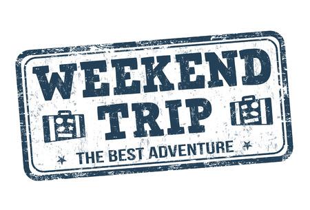 Weekend trip grunge rubber stempel op een witte achtergrond, vector illustratie Vector Illustratie