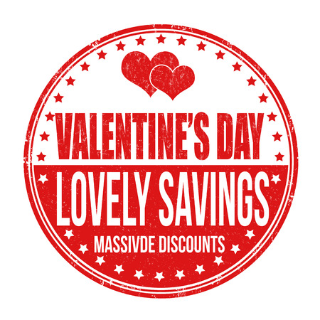 massive: Valentines Day lovely savings grunge rubber stamp on white background, vector illustration
