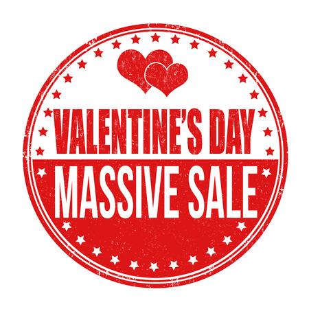 massive: Valentines Day massive sale grunge rubber stamp on white background, vector illustration