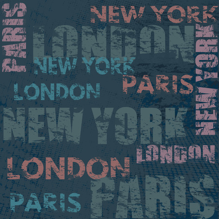 Typographic poster design with city names London, Paris and New York on grunge scratched background, vector illustration 矢量图像