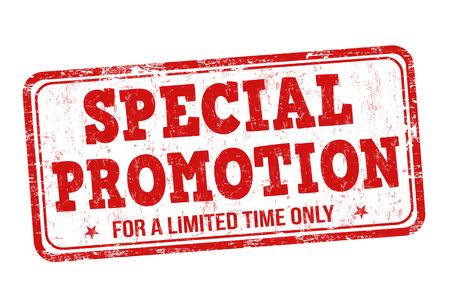 sello: Sello especial de goma del grunge de promoci�n en el fondo blanco, ilustraci�n vectorial