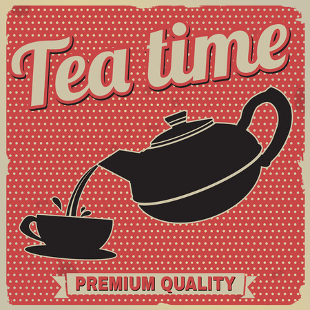 Tea time retro poster on red in vintage style, vector illustration