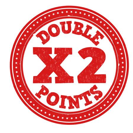 獲得 × 2 白い背景ベクトル イラストでダブル ポイント グランジ ゴム印  イラスト・ベクター素材