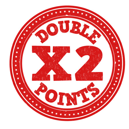 Earn x2 double points grunge rubber stamp on white background, vector illustration