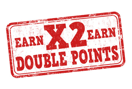 Earn x2 double points grunge rubber stamp on white background, vector illustration Иллюстрация