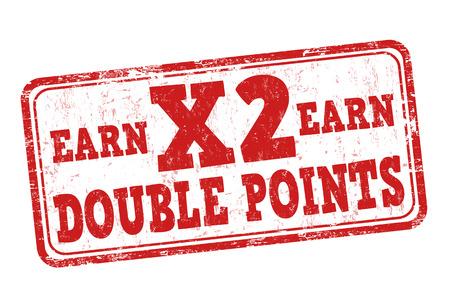 Verdien x2 dubbele punten grunge rubber stempel op een witte achtergrond, vector illustratie Stock Illustratie