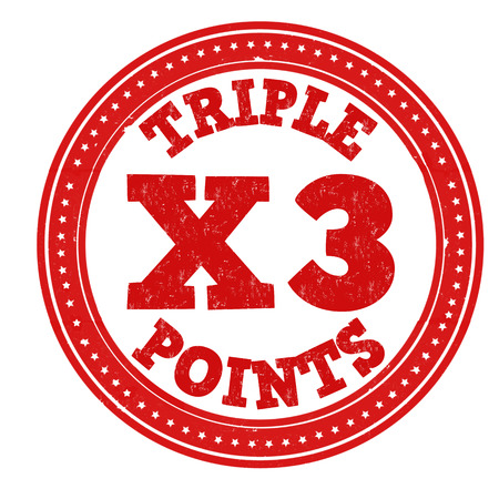 earn more: Earn x3 triple points grunge rubber stamp on white background, vector illustration
