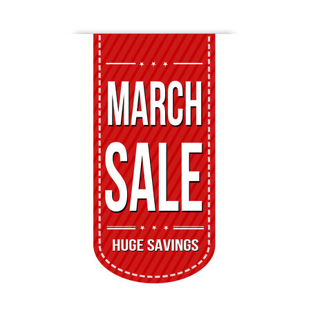 advertised: March sale banner design over a white background, vector illustration