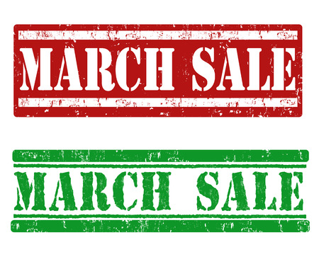advertised: March sale grunge rubber stamps on white, vector illustration