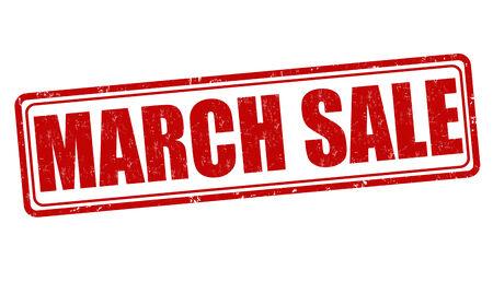 advertised: March sale grunge rubber stamp on white, vector illustration Illustration
