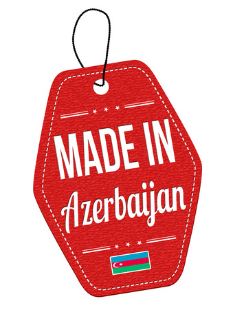 azerbaijan: Made in Azerbaijan red leather label or price tag on white background, vector illustration
