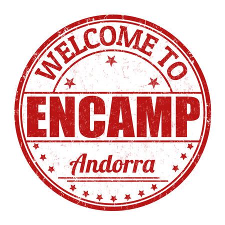 andorra: Welcome to Encamp, Andorra grunge rubber stamp on white background, vector illustration