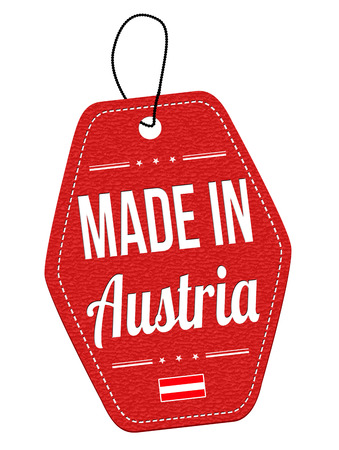 leather label: Made in Austria red leather label or price tag on white background, vector illustration