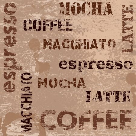 latte macchiato: Typographic coffee poster design and grunge scratched background, vector illustration
