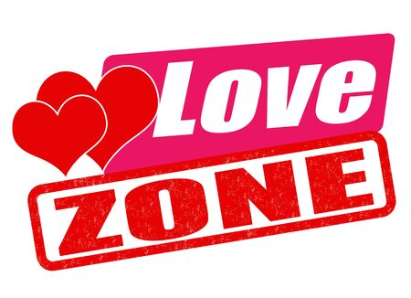 love stamp: Love zone grunge rubber stamp on white, vector illustration
