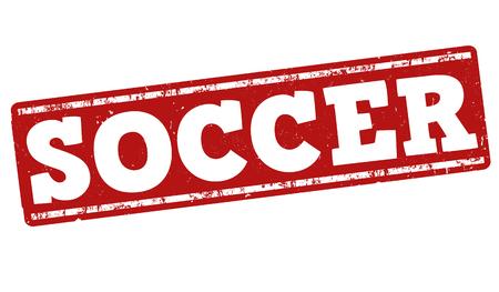 striker: Soccer grunge rubber stamp on white background, vector illustration