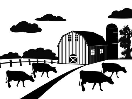 silos: Farm landscape on white background, vector illustration Illustration