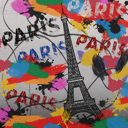 Paris vintage grunge poster with colored splash on canvas background, vector illustration