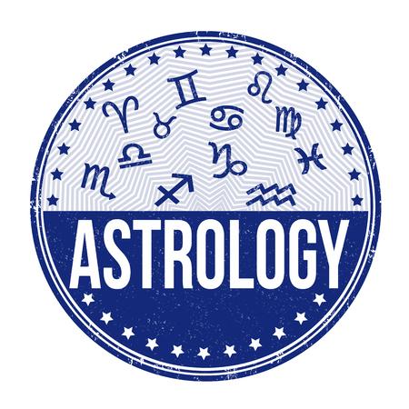 diviner: Astrology grunge rubber stamp on white background, vector illustration
