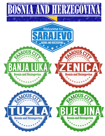 Set of grunge rubber stamps with names of Bosnia and Herzegovina cities, vector illustration