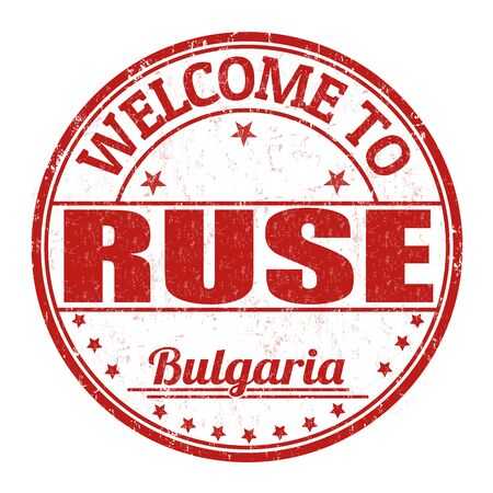 best location: Welcome to Ruse grunge rubber stamp on white background, vector illustration