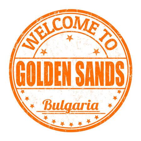 impress: Benvenuti al Golden Sands grunge timbro di gomma su sfondo bianco, illustrazione vettoriale