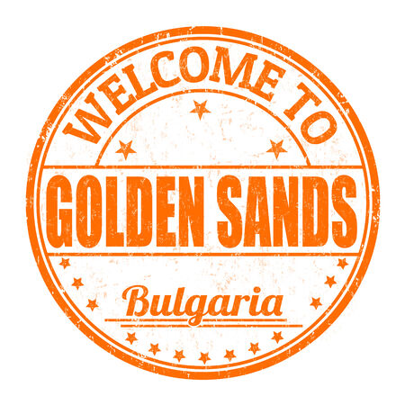 bulgaria: Welcome to Golden Sands grunge rubber stamp on white background, vector illustration Illustration
