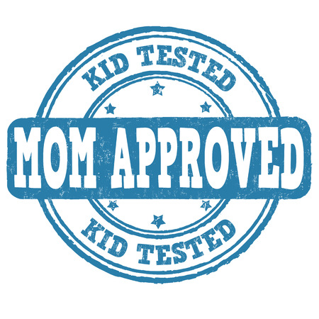 Kid tested, mom approved grunge rubber stamp on white background, vector illustration Illustration