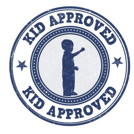 approbation: Kid approvato grunge timbro di gomma su sfondo bianco, illustrazione vettoriale