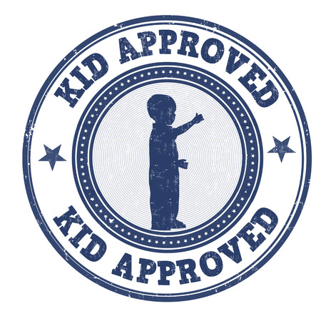 permission granted: Kid approved grunge rubber stamp on white background, vector illustration