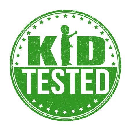 accredit: Kid tested grunge rubber stamp on white background, vector illustration