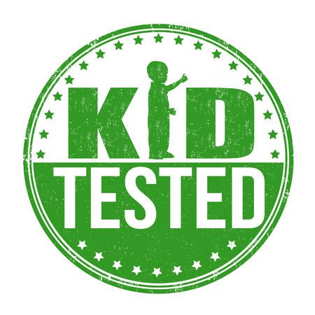 tested: Kid tested grunge rubber stamp on white background, vector illustration