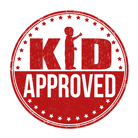 accredit: Kid approved grunge rubber stamp on white background, vector illustration