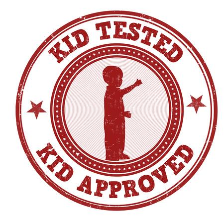 approbation: Kid testato e approvato timbro di gomma grunge su sfondo bianco, illustrazione vettoriale