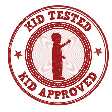 approved stamp: Kid tested and approved grunge rubber stamp on white background, vector illustration Illustration