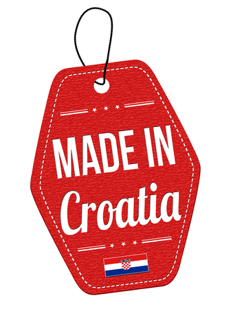 leather label: Made in Croatia red leather label or price tag on white background, vector illustration Illustration