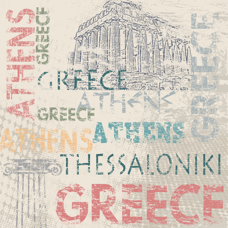 parthenon: Typographic poster design with Greece and city names Athens and Thessaloniki on grunge scratched background, vector illustration