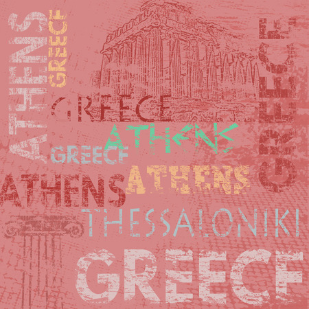 Typographic poster design with Greece and city names Athens and Thessaloniki on grunge scratched background, vector illustration Vector