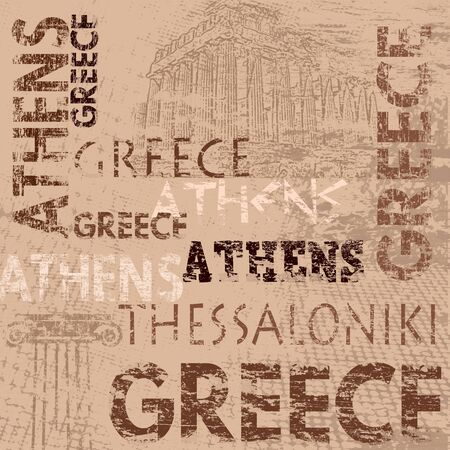 ancient greece: Typographic poster design with Greece and city names Athens and Thessaloniki on grunge scratched background, vector illustration