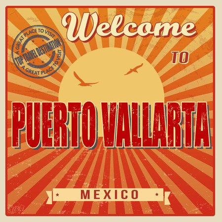 Vintage Touristic Welcome Card - Puerto Vallarta, Mexico, vector illustration Vector