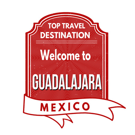 guadalajara: Grunge rubber stamp with text Welcome to Guadalajara, vector illustration