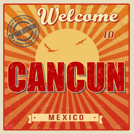 cancun: Vintage Touristic Welcome Card - Cancun, Mexico, vector illustration Illustration