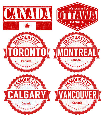 vancouver: Set of Canada cities stamps on white background, vector illustration