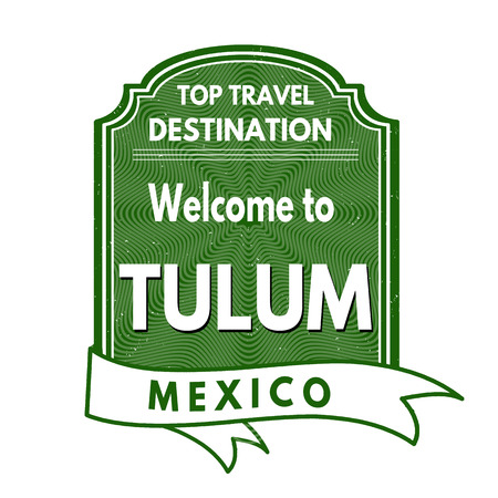mexico beach: Grunge rubber stamp with text Welcome to Tulum, vector illustration