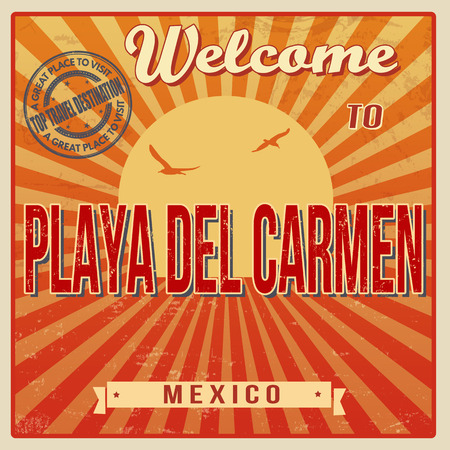 del: Vintage Touristic Welcome Card - Playa del Carmen, Mexico, vector illustration
