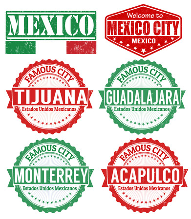 guadalajara: Set of Mexico cities stamps on white background, vector illustration